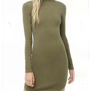 Olive Green Mock Neck Ribbed Bodycon Dress
